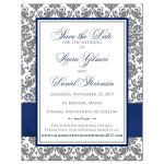 Navy blue, white and grey damask pattern wedding photo save the day card with ribbon, bow, jewels, glitter and ornate scroll.