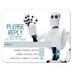 Fun blue and grey robot themed Jewish Bar Mitzvah RSVP card