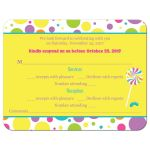 ​Candy theme Bat Mitzvah RSVP card with stripes, polka dots, stars, and candies.