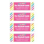 ​Personalized candy theme striped address labels for Bat Mitzvah.