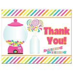 Candyland candy theme Bat Mitzvah thank you card has a brightly colored diagonal stripes background in pink, green, purple, orange, yellow, aqua blue and white and features a hot pink gumball machine, a glass bottle filled with all day sucker lollipops and has other candies on the front and back.