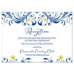 Elegant royal blue and yellow floral wedding reception insert card