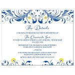 Elegant royal blue and yellow floral wedding details insert card