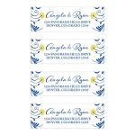 Elegant royal blue and yellow floral personalized wedding address labels