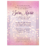Bokeh Lights Pink and White Bat Mitzvah Invitation