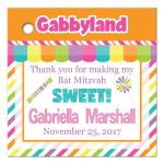 Candyland Bat Mitzvah party favor tag with stripes, polka dots, and candies in bright pink, orange, purple, yellow, green, blue and white.