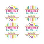 ​Candyland Bat Mitzvah party favor stickers with stripes, polka dots, and candies in bright pink, orange, purple, yellow, green, blue and white.