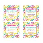 ​Candyland Bat Mitzvah party favor stickers with stripes and candies in bright pink, orange, purple, yellow, green, blue and white.