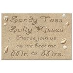 Sandy Toes Salty Kisses, Please join us as we become Mr. & Mrs. Wedding Save the Date Postcard with turquoise type