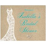 Lacy wedding dress and turquoise type on a beach sand background accents this beach bridal shower poster.
