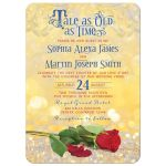 Beauty and the best tale as old as time fairy tale wedding invitation