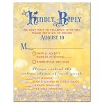 Gold, red, blue fairy tale meal choice wedding rsvp card