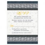 Dark blue denim and white lace wedding RSVP card with gold yellow stitching front