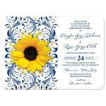 ​Navy blue yellow sunflower flower floral wedding invitation