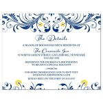 Elegant navy blue and yellow floral wedding details insert card