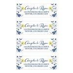 Elegant navy blue and yellow floral personalized wedding address labels