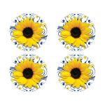 Elegant navy blue and yellow sunflower floral wedding envelope seals or wedding stickers