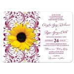 ​Elegant burgundy yellow floral sunflower wedding invitation