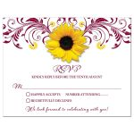 Burgundy yellow sunflower flower floral wedding RSVP card