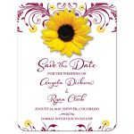 Elegant burgundy yellow floral sunflower wedding save the date announcement