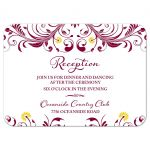 Elegant burgundy and yellow floral wedding reception insert card