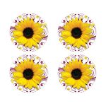 Elegant burgundy and yellow sunflower floral wedding envelope seals or wedding stickers