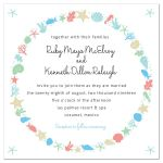 Nautical Ocean Wreath Destination Beach Wedding Invitation