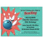 Retro Bowling Party invitation