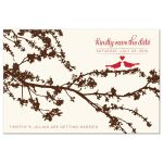 Love birds on a branch save the date postcards front