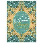 Orange Teal Glitter Look Bridal Shower Invite