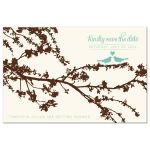 Love birds on a branch save the date postcard front