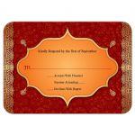 Indian Wedding RSVP Card - Crimson Paisley Golden Gilded Edge