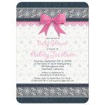 Cute lace and denim pink bow baby girl baby shower invitation