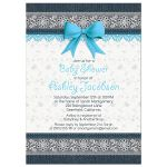 Cute lace and denim blue bow baby boy baby shower invitation