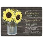 Graduation Invitations - Rustic Sunflower Wood Mason Jar