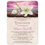 Quinceañera Invitations - Beach Lily Seashells and Sand Magenta