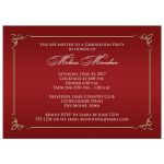 Elegant red and gold scroll photo graduation party invite.