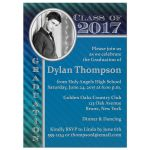 Blue Striped Photo graduation invitation for a male