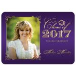 Elegant purple and gold photo graduation invite