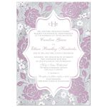Vintage purple, pink, white and silver grey floral wedding invitation with monogram and scroll.