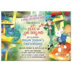 White rabbit, cheshire cat, mad hatter Alice in Wonderland 1st birthday invitation