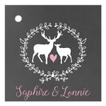 Buck and Doe Deer Chalkboard Wedding Gift Tag Favor Tags