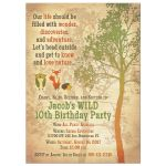 ​Woodland forest tree fox owl hedgehog kid's birthday invitation