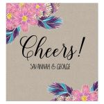 Boho Feathers Watercolor Floral Cheers Wine Label Wedding Wine Labels