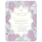 ​Vintage purple, pink, white and silver grey floral wedding response enclosure card insert with monogram and scroll.