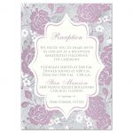 ​Vintage purple, pink, white and silver gray floral wedding reception enclosure card insert with accommodations information details and ornate scroll.