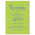 Lime green and blue lace Bat Mitzvah reception card front
