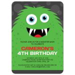 Monster party invitations with cute, green monster