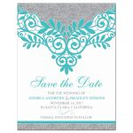 Elegant turquoise and silver grey lace wedding save the date announcement front