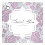 ​Vintage purple, pink, white and silver grey floral wedding favor thank you gift tag with ornate scroll.